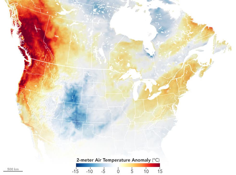 <p>Satellite imagery taken by NASA measures the air temperatures in portions of the US and Canada</p>