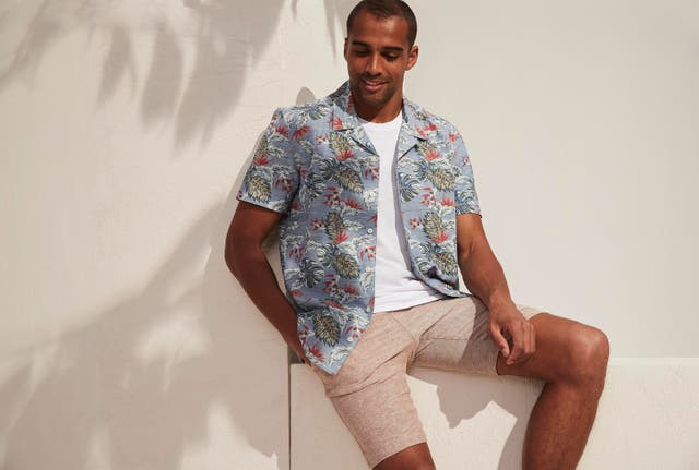Matalan Short Sleeve Tropical Leaf Print Shirt; Slim Fit Crew Neck T-Shirt; Slim Fit Textured Shorts