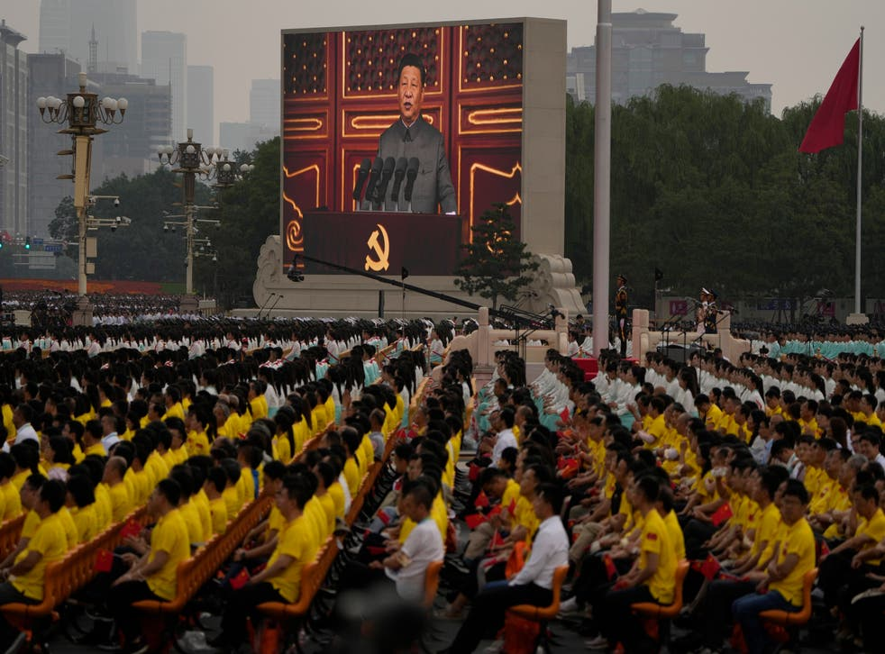 <p>Chinese President Xi Jinping speaks at a ceremony to mark the 100th anniversary of the Chinese Communist Party at Tiananmen Square in Beijing </p>