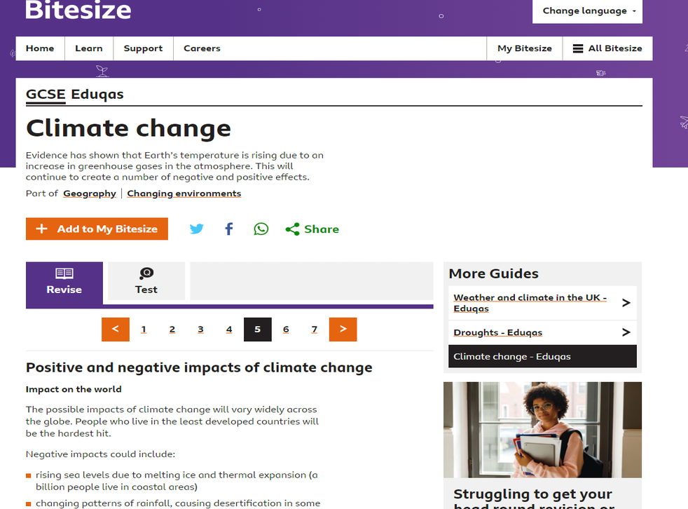 """<p>A GCSE study aide on the BBC Bitesize website lists """"warmer temperatures and increased CO2 levels"""" among the """"positives"""" of climate change</p>"""
