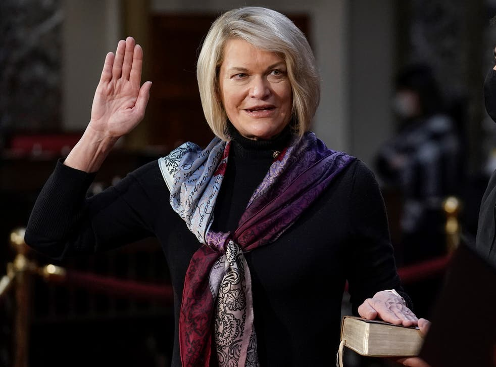 <p>Senator Cynthia Lummis takes the oath of office during a mock swearing-in ceremony in the Old Senate Chamber at the Capitol on 3 January, 2021 in Washington, DC</p>