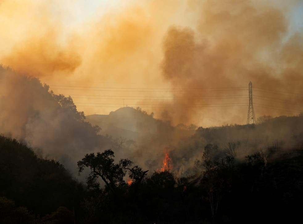 <p>The Bond Fire wildfire continues to burn next to electrical power lines near Modjeska Canyon, California</p>