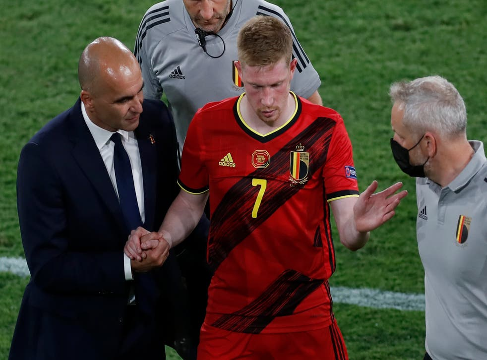 Belgium's Kevin De Bruyne (centre) faces a race against time to be fit for the Euro 2020 quarter-final against Italy