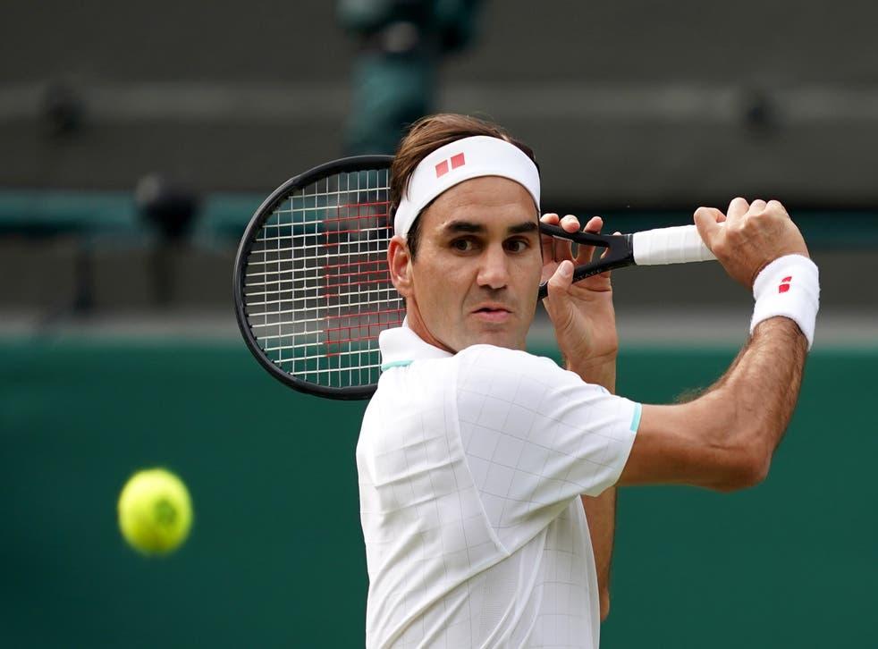 Roger Federer plays a shot