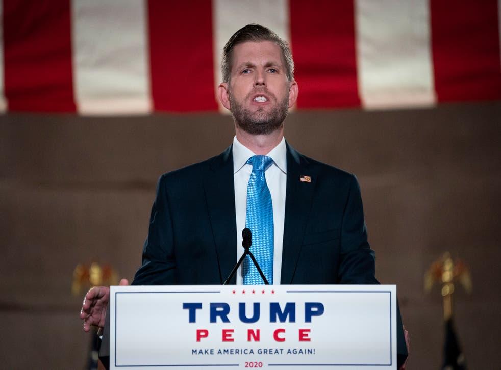 <p>Archivo: Eric Trump, pregraba su discurso en la Convención Nacional Republicana el 25 de agosto de 2020</p>