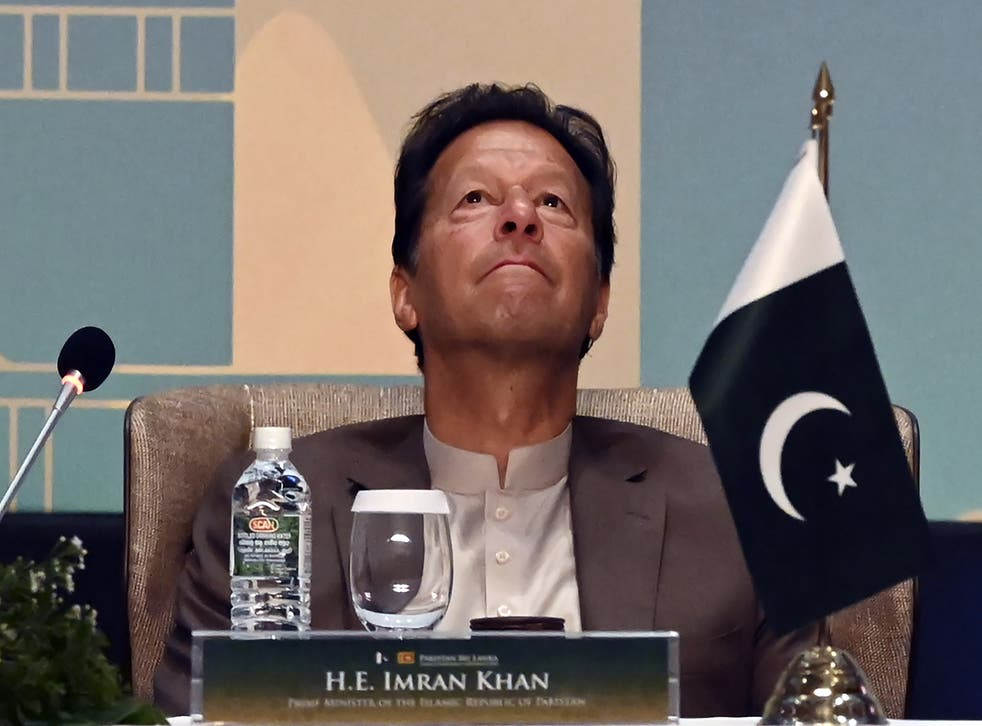 <p>File photo: Pakistan's Prime Minister Imran Khan looks on during a Trade and Investments conference in Colombo on 24 February 2021</p>