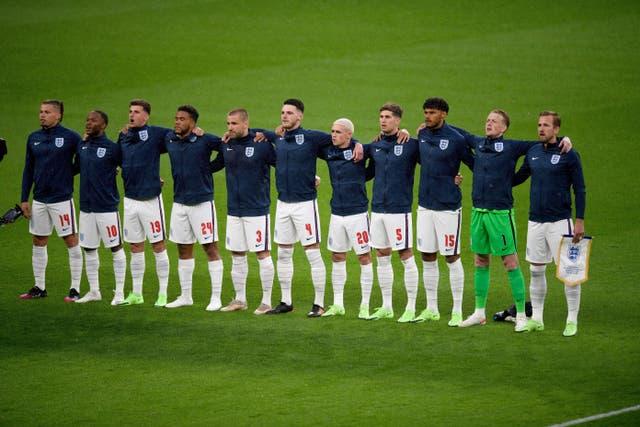 England team singing national anthem at Wembley