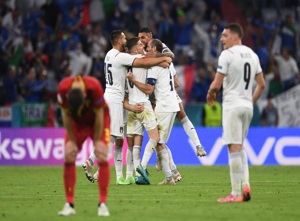 Italy players celebrate after their Euro 2020 quarter-final victory over Belgium