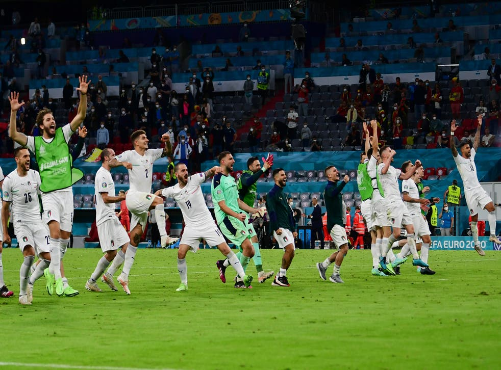 Italy's players celebrate after beating Belgium to reach the semi-finals of Euro 2020