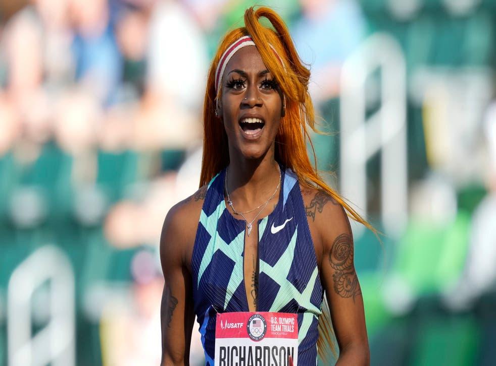 <p>Sha'Carri Richardson at June's Olympic trials.</p>