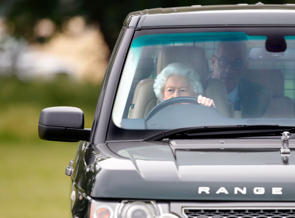 <p>Queen Elizabeth II seen driving her Range Rover car as she attends day 2 of the Royal Windsor Horse Show in Home Park, Windsor Castle</p>
