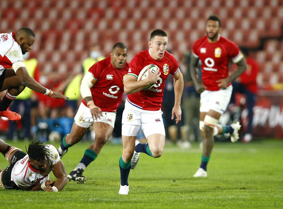 <p>Josh Adams scored four tries as the British and Irish Lions claimed a big win</p>
