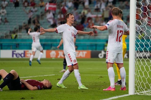 <p>Denmark's Kasper Dolberg (right) celebrates after scoring against the Czech Republic at Euro 2020</p>