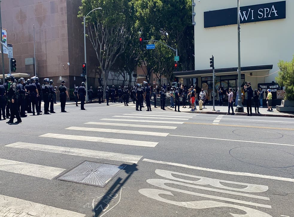 <p>Brawls broke out at a protest on Saturday in Los Angeles in front of a spa that went viral for its policy of allowing trans customers to use facilities matching their gender, which angered certain patrons.</p>