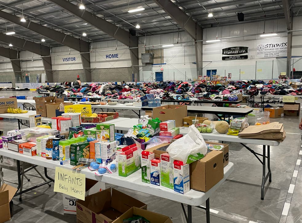<p>Donations are set up in the hockey rink in the Shulus Community Arena.</p>