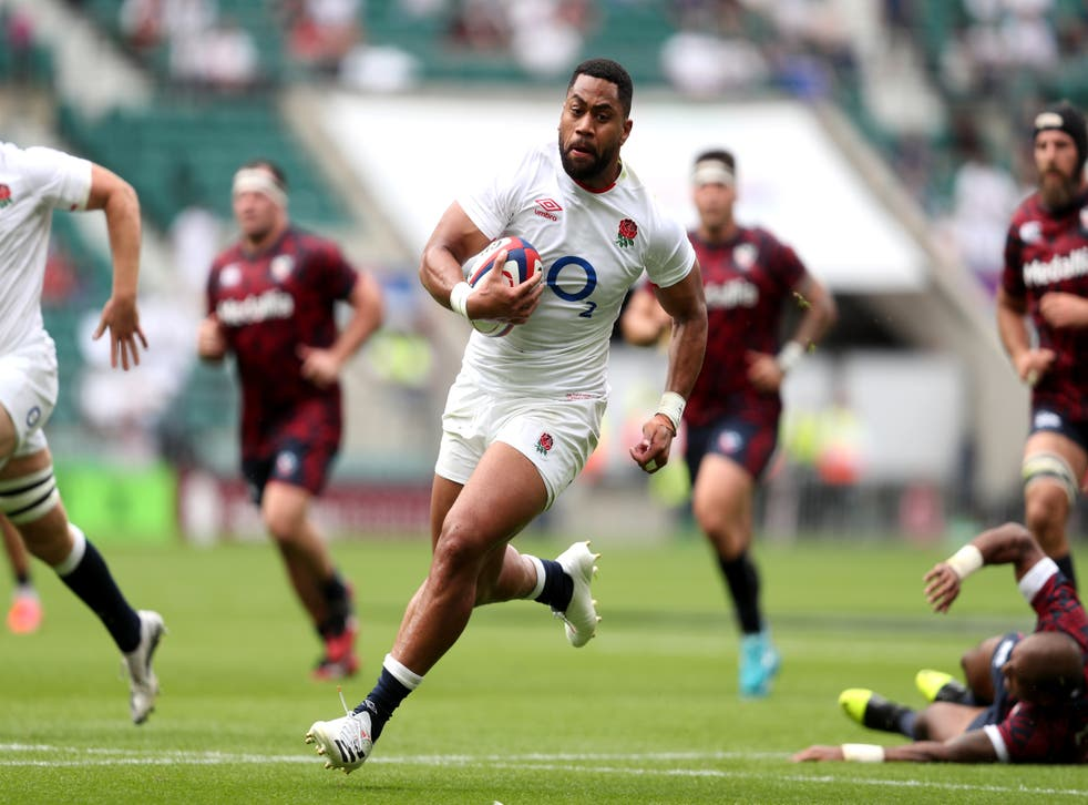 <p>The Bath wing scored two tries on his return to England duty at Twickenham on Sunday</p>