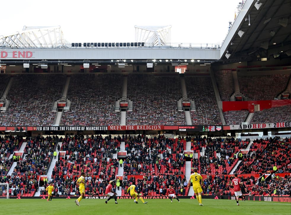 <p>Manchester United play a Premier League match at Old Trafford in Manchester</p>