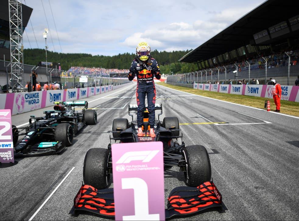 <p>Max Verstappen celebrates his Austrian GP triumph</p>
