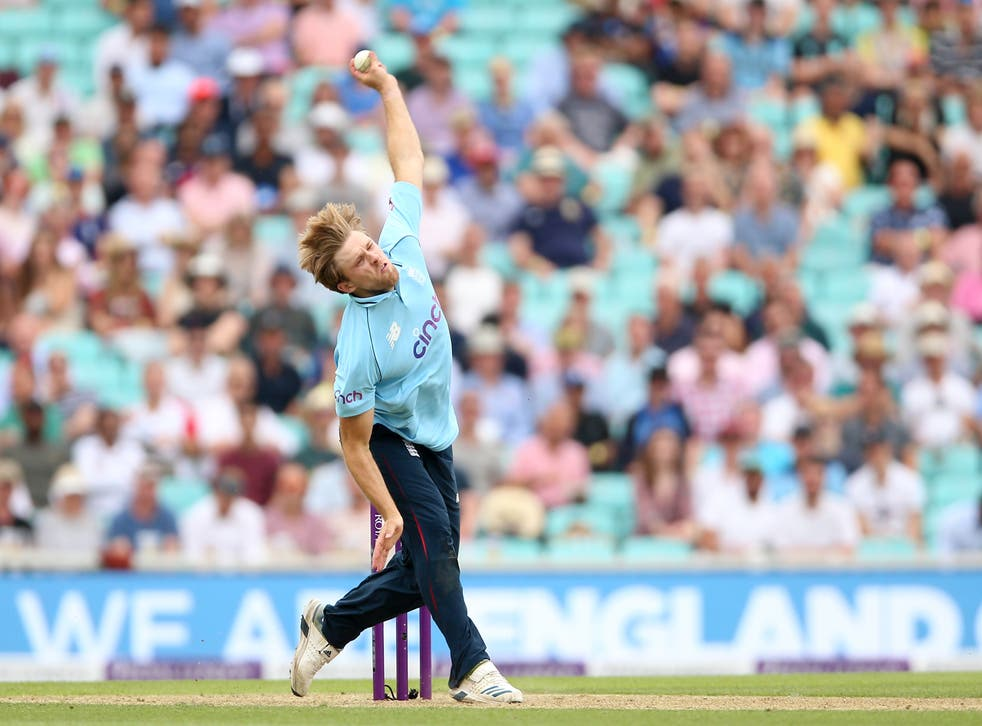 <p>David Willey in action</p>
