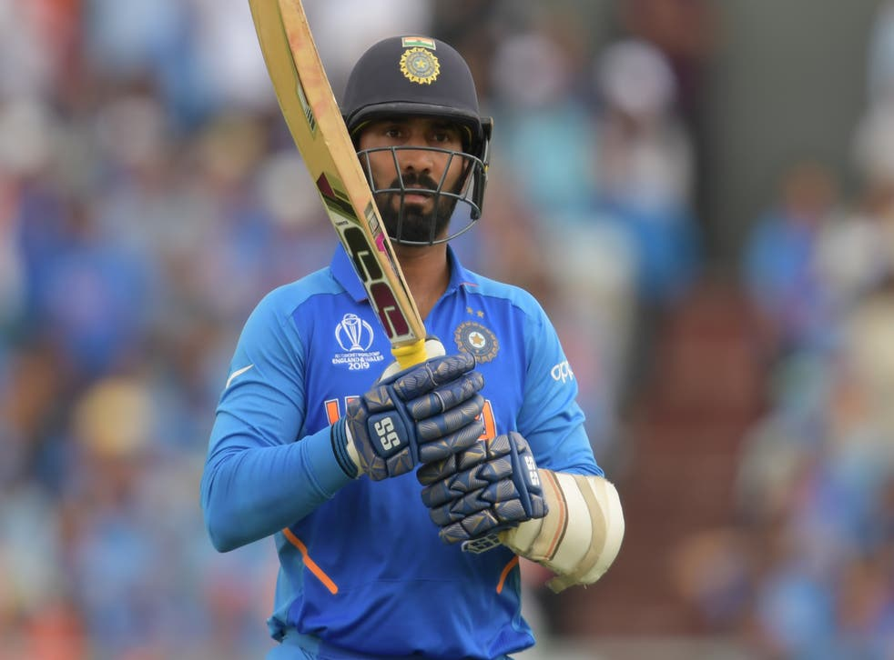 <p>File: India's Dinesh Karthik is seen during the 2019 Cricket World Cup first semi-final between New Zealand and India at Old Trafford in Manchester, on 10 July 10 2019. Karthik was criticised for comments comparing a bat to a neighbour's wife during the England vs Sri Lanka match</p>