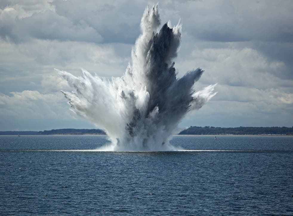 <p>The Royal Navy regularly detonates unexploded World War Two bombs lying on the sea floor</p>