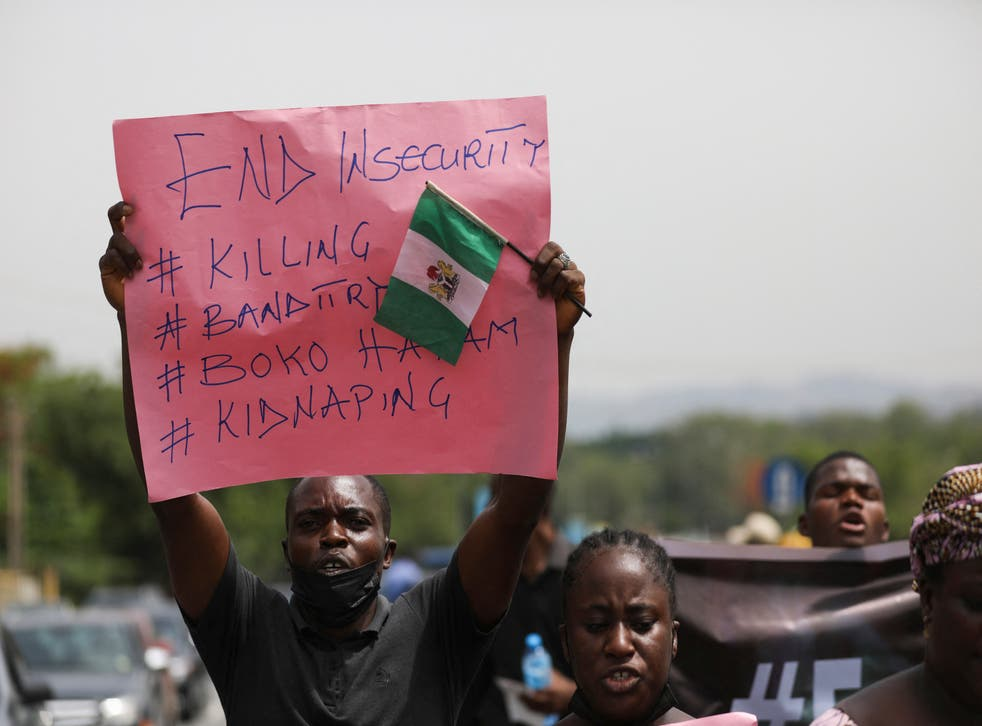 <p>Protestors rallying against kidnappings in Kaduna state, northwest Nigeria in May </p>