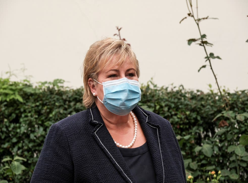 <p>Norwegian prime minister Erna Solberg announced the full lifting of Covid restrictions would be delayed at least until the end of the month</p>
