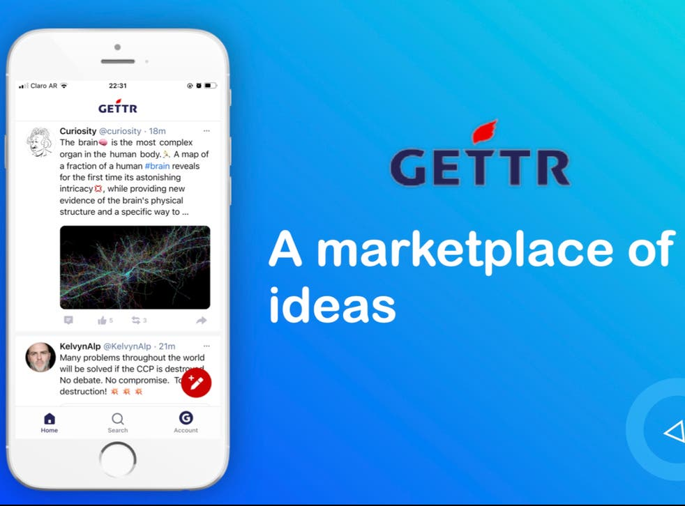 <p>The newly launched social media website, Gettr, is billed on app stores as a 'non-bias social network for people all over the world'</p>
