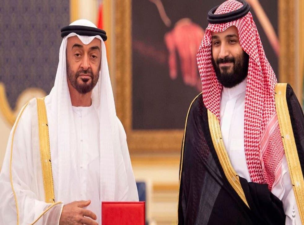 <p>UAE's Mohammed bin Zayed, left, and the Saudi crown prince, Mohammed bin Salman</p>