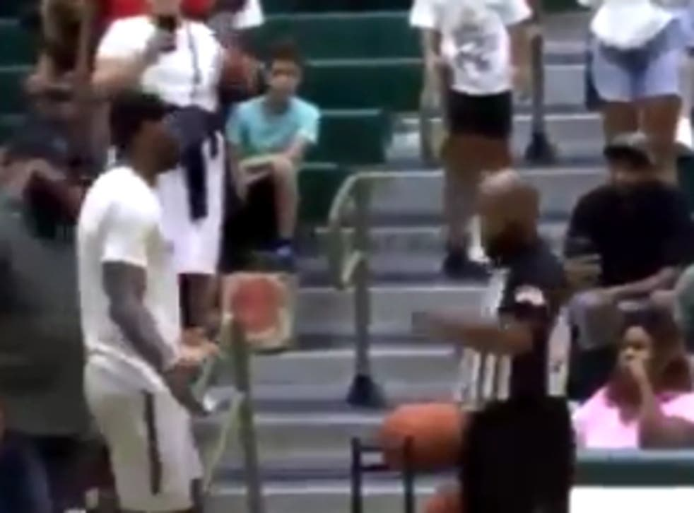 <p>LeBron James confronts a court-side announcer at his son's basketball game who suggested the boy was given a foul because he was playing in an arena named after his father</p>