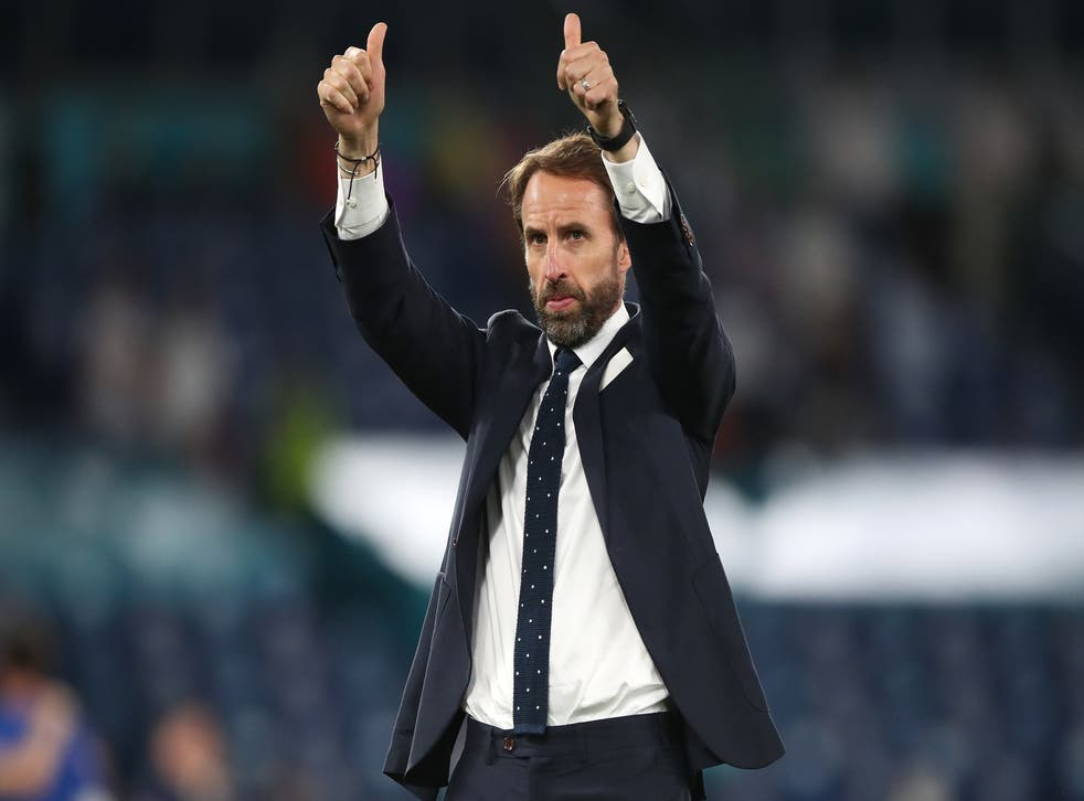 England manager Gareth Southgate thanks the fans following the quarter-final victory in Rome on Saturday night