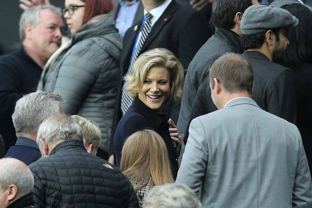 <p>Amanda Staveley, centre, has urged Government to back calls for greater transparency over the Premier League's handling of her failed bid for Newcastle</p>