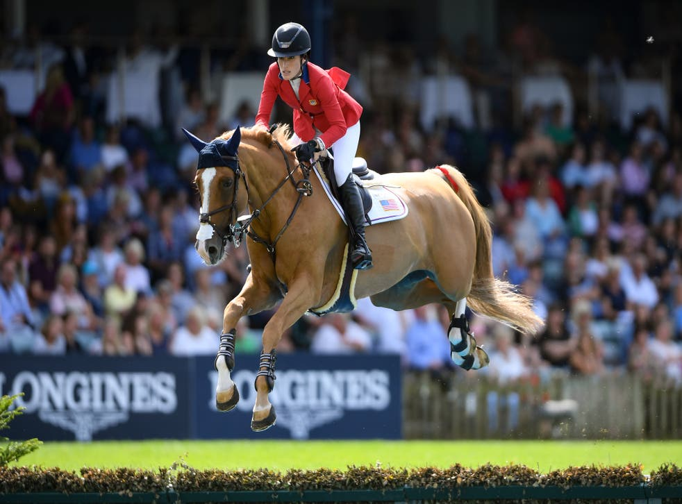 <p>Jessica Springsteen in competition at the Hickstead All England Jumping Course in July 2019.</p>