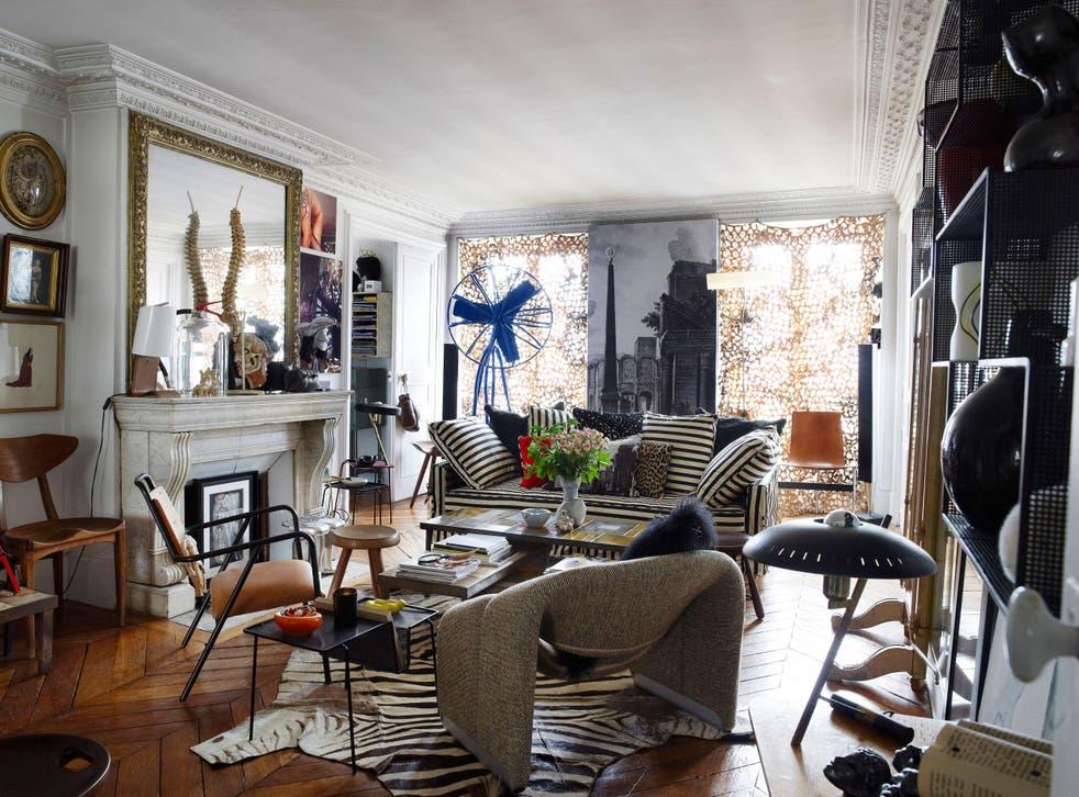 A maximalist living room