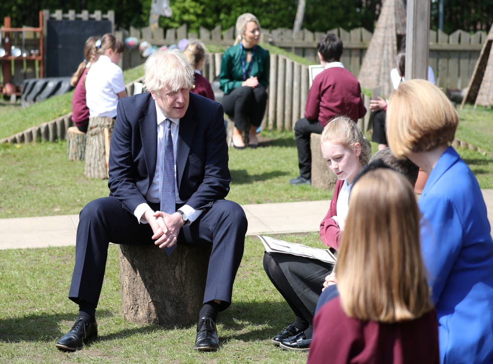 <p>Boris Johnson visiting Cleves Cross Primary School in Ferryhill. The government's rules on Covid management in schools and colleges is to be overhauled under step 4 of the roadmap</p>