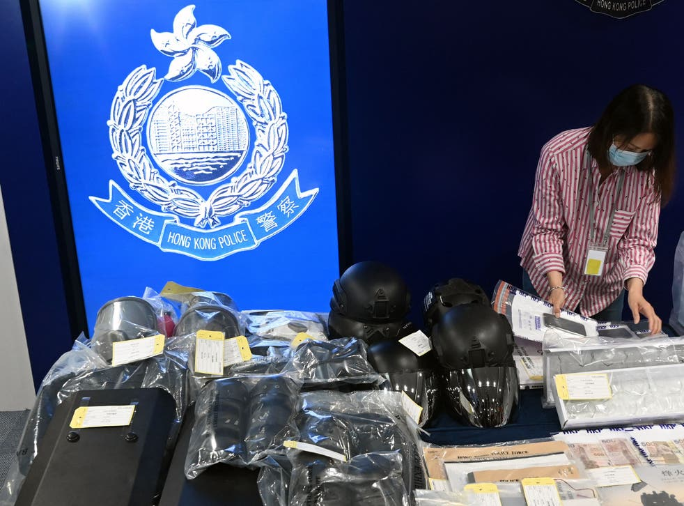 <p>Seized items on display at the Hong Kong police headquarters after nine people were arrested, accused of involvement in a terrorist bombing plot</p>