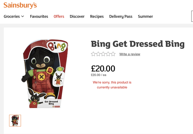 <p>The Bing Bunny toy sold by Sainsbury's that was at the rot of Ms Cunnington's unfair dismissal case</p>