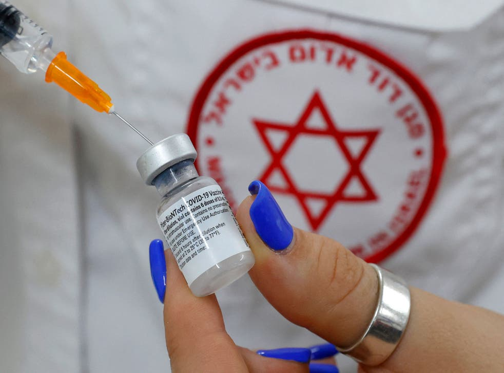 <p>An Israeli medical worker prepares a dose of the Pfizer/BioNTech Covid-19 vaccine </p>