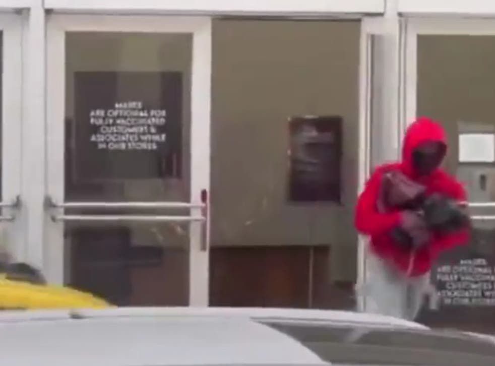 <p>Footage of a robbery at Neiman Marcus on Monday</p>