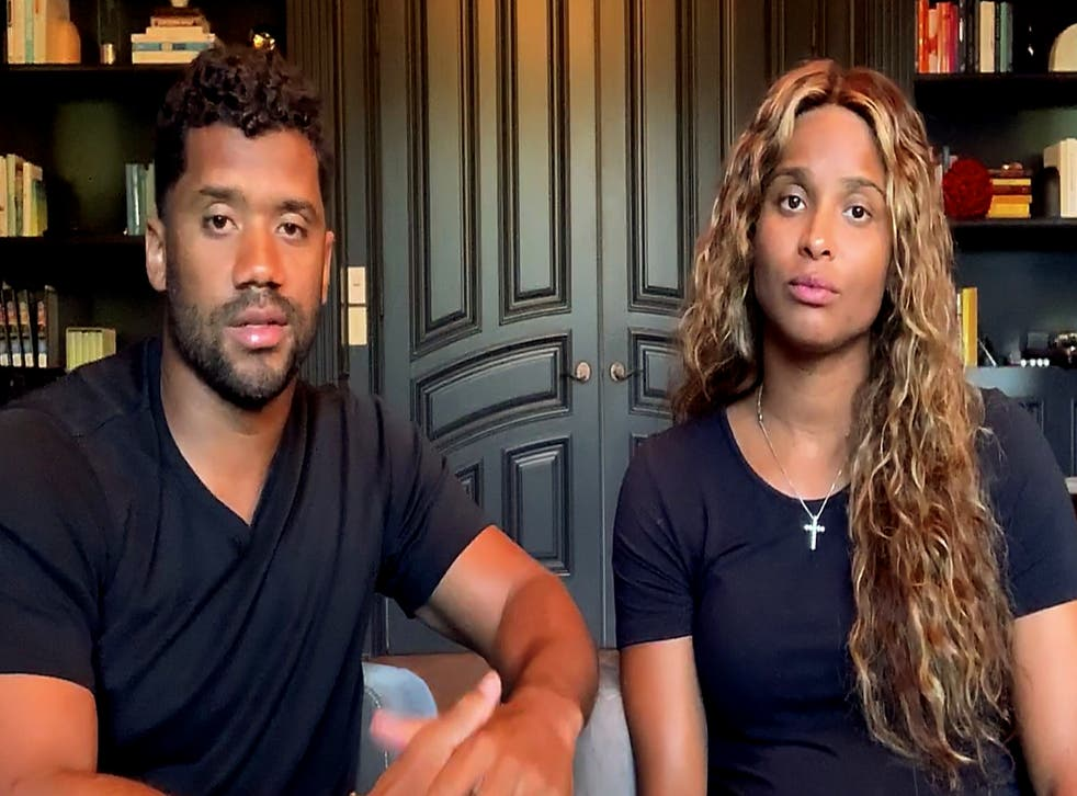 <p>Russell Wilson and Ciara pictured at home in June 2020.</p>