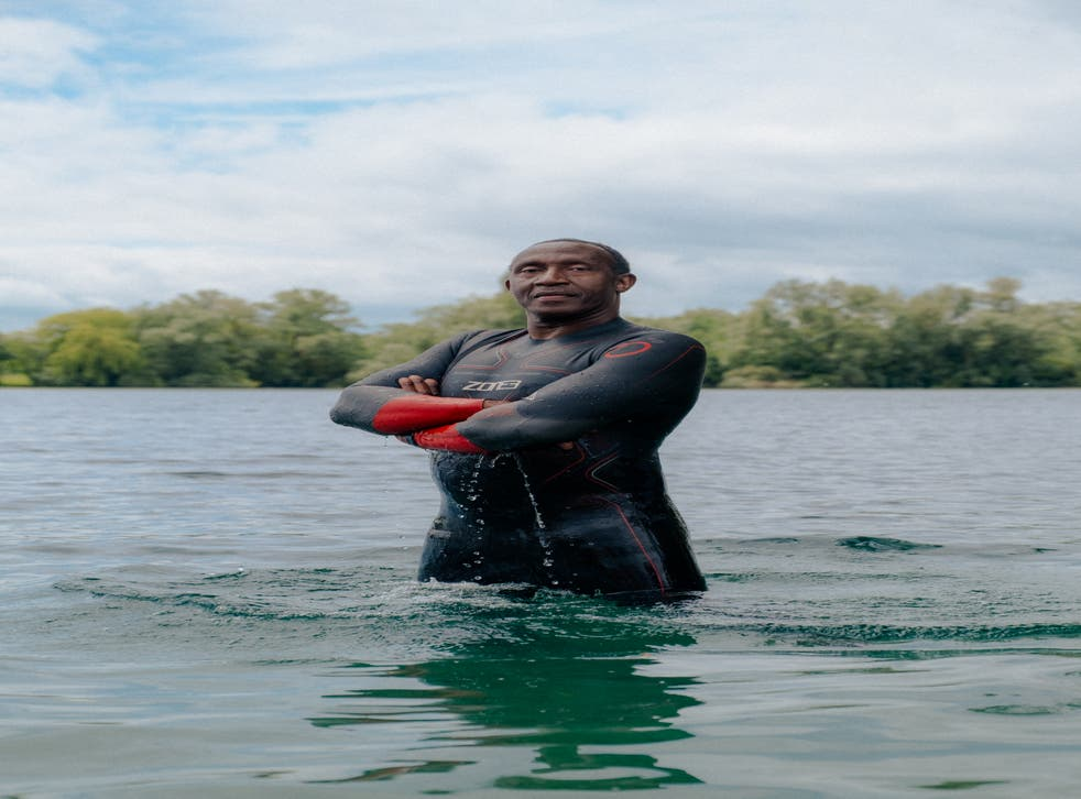 Linford Christie ready for an open water swim