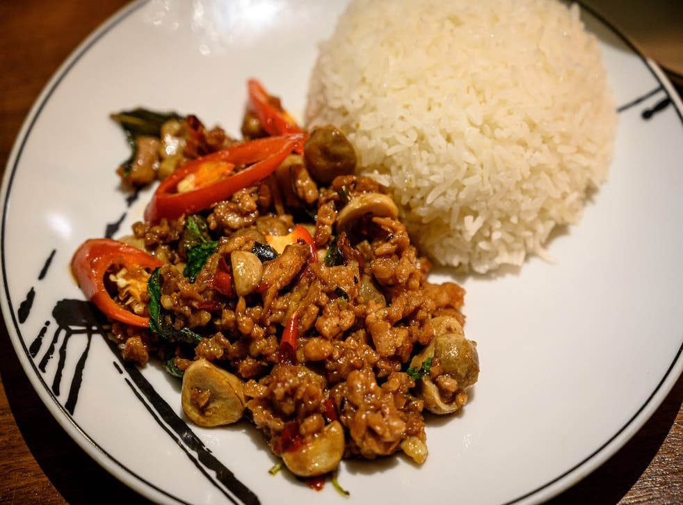 <p>A vegetarian version of pad kra phao, using a meat substitute and stir-fried with basil and chili, served at a restaurant in Bangkok</p>