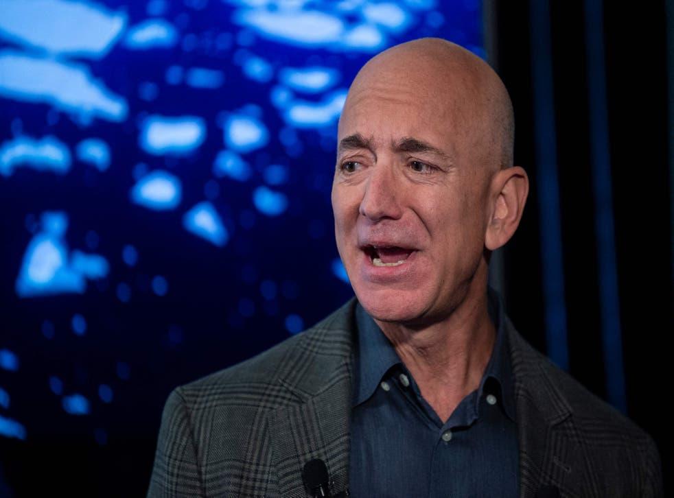 <p>File: Jeff Bezos speaks to the media on Amazon's sustainability efforts on 19 September, 2019 in Washington</p>
