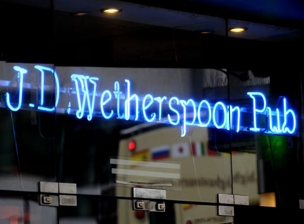 A JD Wetherspoon pub sign