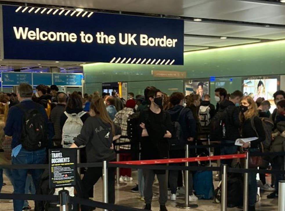 <p>Line of duty: Arriving passengers queuing at Heathrow</p>