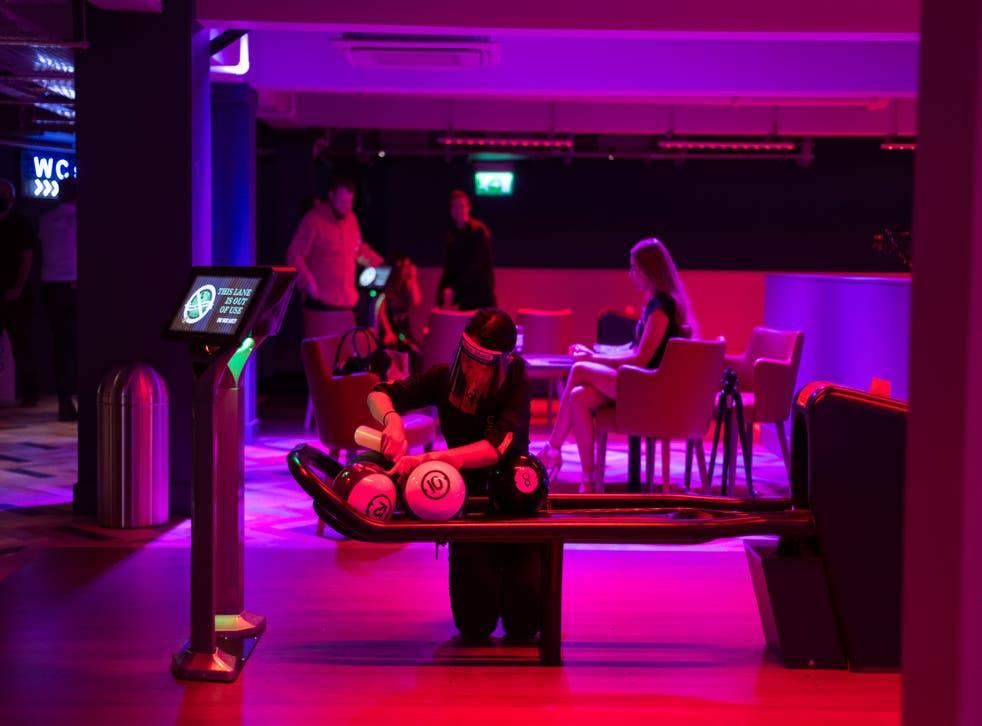 A ten-pin bowling alley