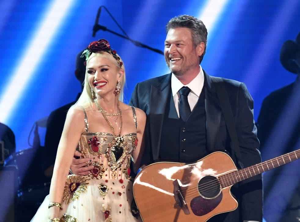 <p>Gwen Stefani and Blake Shelton at the 62nd Annual Grammy Awards</p>
