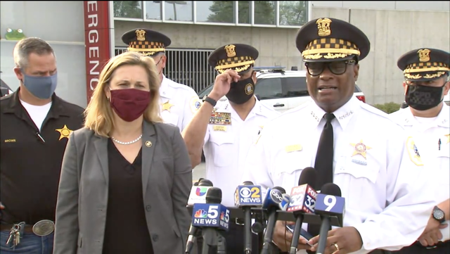 <p>Superintendent of Chicago Police Department gave a press conference this morning about the shooting</p>