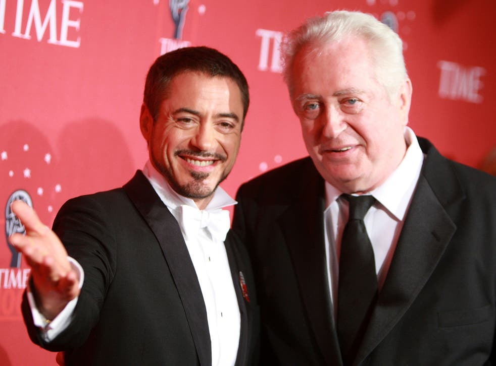 <p>Actor Robert Downey Jr. and father Robert Downey Sr at TIME's 100 Most Influential People Gala on 8 May 2008 in New York City</p>