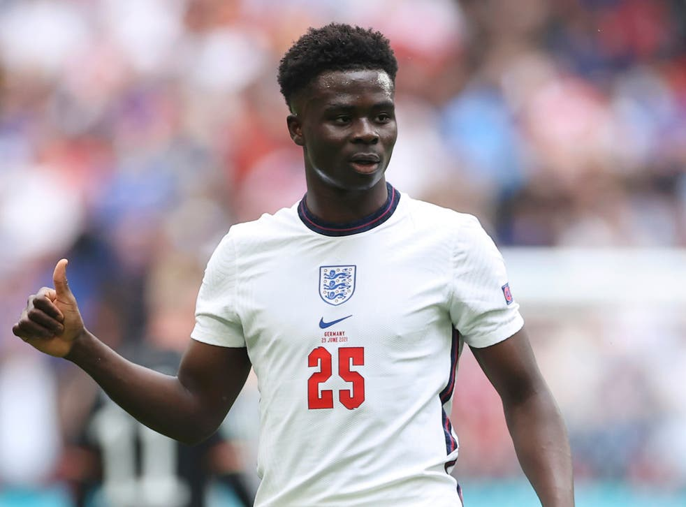 <p>England forward Bukayo Saka</p>